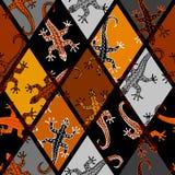 Безшовная картина квадрата вектора Картина ящериц Брайна бесплатная иллюстрация