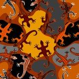 Безшовная картина квадрата вектора Картина ящериц Брайна иллюстрация штока