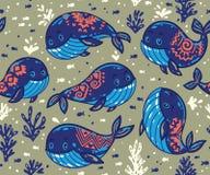Безшовная картина кита с племенным орнаментом Стоковые Фотографии RF