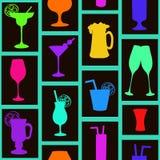 Безшовная картина коктеилей и пить Стоковая Фотография