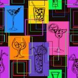 Безшовная картина коктеилей Стоковые Фотографии RF