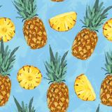 Безшовная картина конспекта ананаса лета Стоковые Фото