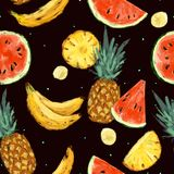 Безшовная картина конспекта арбуза лета Стоковое Изображение RF