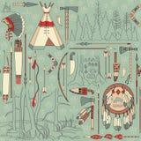 Безшовная картина коренного американца с землями леса Стоковое Изображение