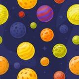 Безшовная картина космоса с планетами шаржа Стоковые Фотографии RF