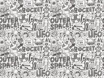 Безшовная картина космоса doodle Стоковое Изображение
