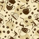 Безшовная картина кофейных чашек Стоковые Изображения