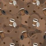 Безшовная картина кофе с кофейными зернами и кофейной чашкой для ткани, производства, обоев и печати Стоковое Изображение