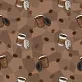 Безшовная картина кофе для ткани, производства, обоев и печати Стоковые Изображения RF