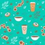 Безшовная картина кофе Стоковое Изображение RF