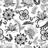Безшовная картина красивых стилизованных цветков в ретро стиле иллюстрация штока