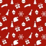 Безшовная картина красного и белого рождества Стоковое Изображение
