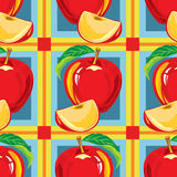Безшовная картина красного яблока Стоковое Изображение