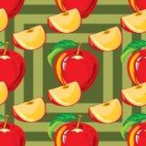 Безшовная картина красного яблока Стоковые Фотографии RF
