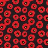 Безшовная картина красных маков Стоковая Фотография RF