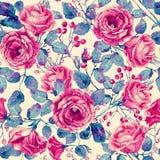 Безшовная картина красных роз акварели Стоковое фото RF