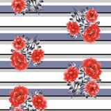 Безшовная картина красных цветков пиона на белой предпосылке с нашивками серого цвета, черных и голубых горизонтальными акварель Стоковые Изображения RF