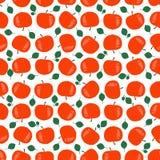 Безшовная картина красных яблок с зелеными листьями Стоковое фото RF