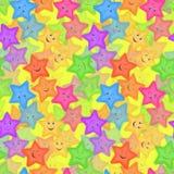 Безшовная картина, красочный Smiley звезд Стоковые Изображения