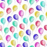 Безшовная картина красочных воздушных шаров изображение иллюстрации летания клюва декоративное своя бумажная акварель ласточки ча иллюстрация вектора
