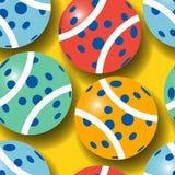 Безшовная картина красочных теннисных мячей Стоковая Фотография