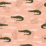 Безшовная картина крокодилов иллюстрация штока