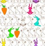 Безшовная картина кроликов и морковей Стоковые Фотографии RF