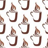 Безшовная картина кружки испаряться горячий кофе Стоковая Фотография RF