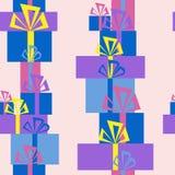 Безшовная картина куч подарков иллюстрация вектора