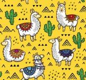 Безшовная картина лам, кактусов и геометрических гор иллюстрация штока