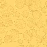 Безшовная картина листьев на бежевой предпосылке Стоковое Изображение RF