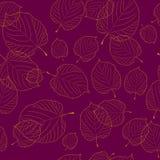 Безшовная картина листьев на предпосылке Бордо Стоковое Изображение RF