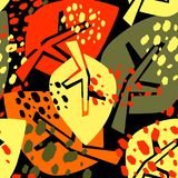 Безшовная картина листьев осени, ультрамодная печать в коллаже отрезанном вне, Стоковое Фото