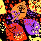 Безшовная картина листьев осени, ультрамодная печать в коллаже отрезанном вне, Стоковые Изображения RF