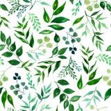Безшовная картина листьев, трав, тропического завода иллюстрация вектора