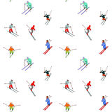 Безшовная картина лыжи Стоковое фото RF