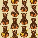 Безшовная картина медведей Стоковые Изображения