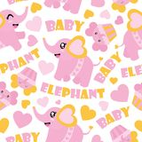 Безшовная картина милого слона младенца и иллюстрации шаржа пирожных для упаковочной бумаги детского душа Стоковые Изображения