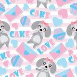 Безшовная картина милого щенка и элементов валентинки на striped иллюстрации шаржа вектора предпосылки для валентинки оборачивая  Стоковое Изображение RF