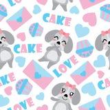 Безшовная картина милого щенка и элементы валентинки vector иллюстрация шаржа для упаковочной бумаги валентинки Стоковые Фотографии RF