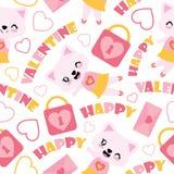 Безшовная картина милой иллюстрации шаржа девушки кота и элементов валентинки для упаковочной бумаги валентинки Стоковые Фотографии RF