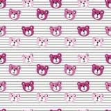 Безшовная картина милой стороны медведя шаржа на белой striped предпосылке Стоковые Изображения