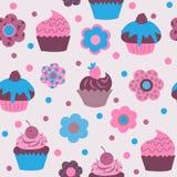 Безшовная картина милых пирожных с цветками Стоковое Изображение