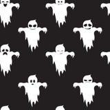 Безшовная картина милых призраков с различными эмоциями На черной предпосылке halloween иллюстрация вектора