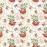 Безшовная картина, милая красная предпосылка белизны ягод Стоковые Изображения