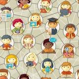 Безшовная картина - милые персонажи в социальном Netwo иллюстрация вектора