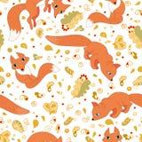 Безшовная картина милых лис и листьев иллюстрация штока