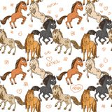 Безшовная картина милых лошадей иллюстрация штока