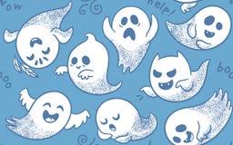 Безшовная картина милых призраков шаржа с различными сторонами иллюстрация штока