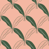 Безшовная картина много манго выходит на предпосылку персика Линия нарисованная рукой вектора искусство Дизайн лета Стоковое Изображение
